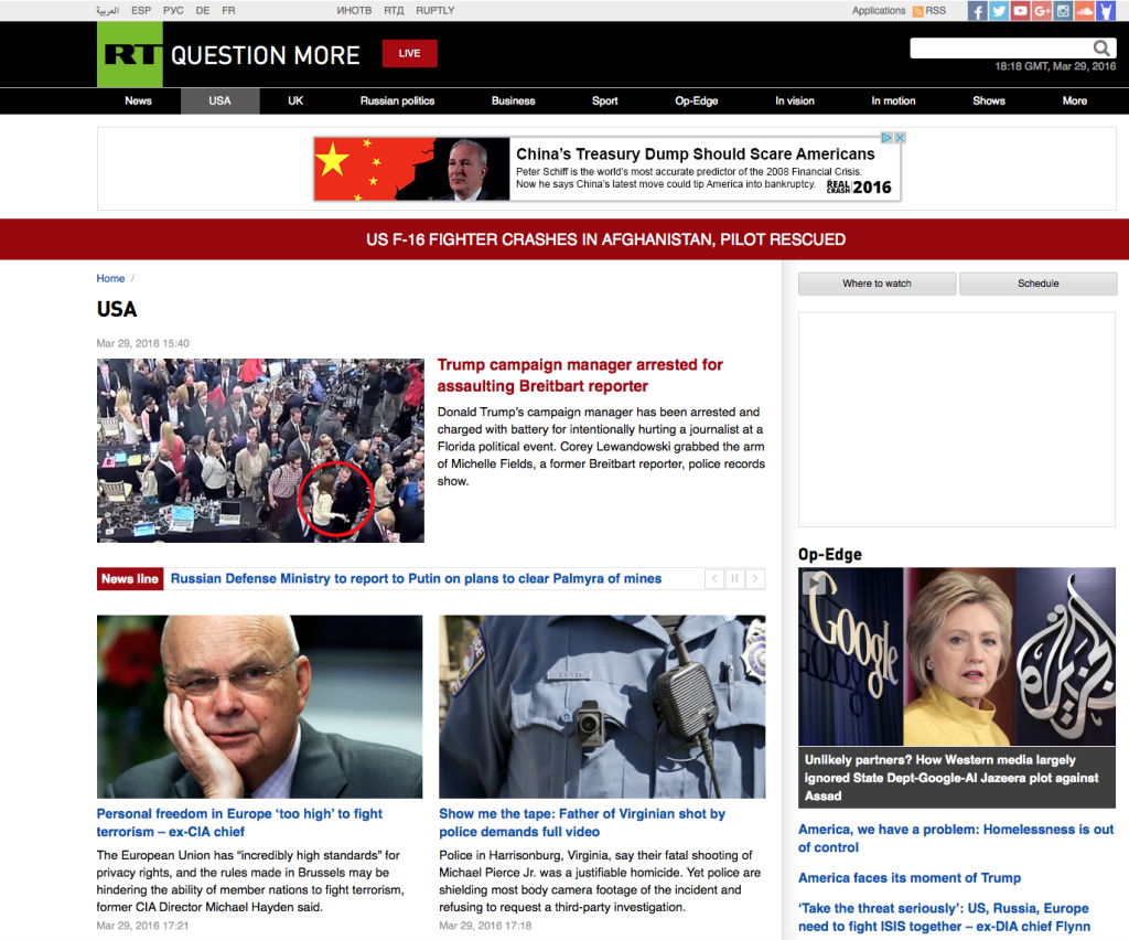 A screen shot of RT America's website (https://www.rt.com/usa) on March 29, 2016, shows news stories of the day.
