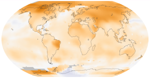 World map showing surface temperature trends (°C per decade) between 1950 and 2014. Source: NASA GISS