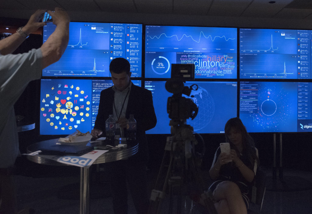 A display of real time live social media inside the Wells Fargo Center at the Democratic National Convention in Philadelphia on July 26, 2016. Credit: Gabrielle Mannino